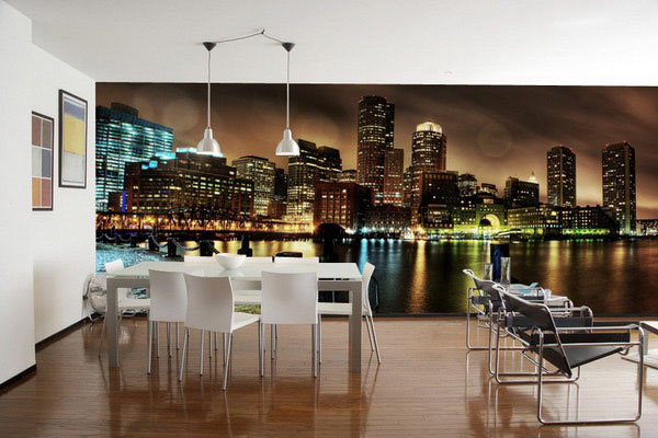 The-White-Chairs-Of-Conventional-Dining-Rooms-with-Wallpaper-Murals