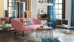 A photo of a beautiful living room decorated with Rose Quartz and Serenity