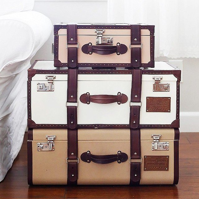 vintage suitcases turned into a DY table